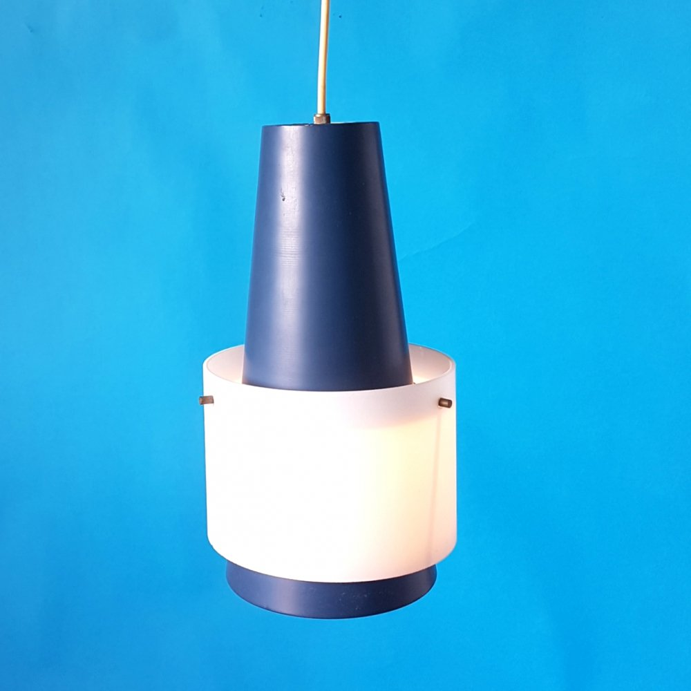 Aluminum & glass pendant lamp by Louis Kalff for Philips, Netherlands 1950s