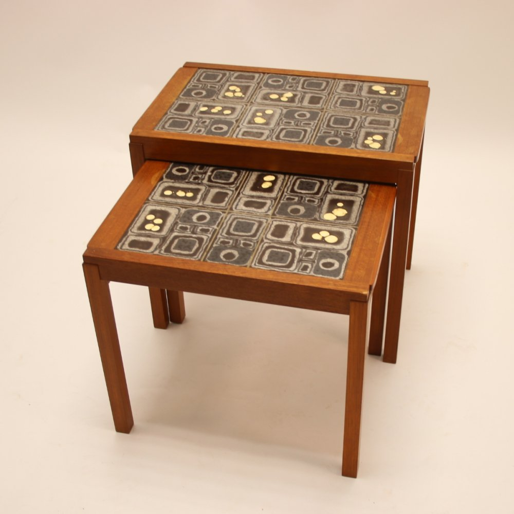 Pair of Danish Teak Side Tables with tile top, 1960s