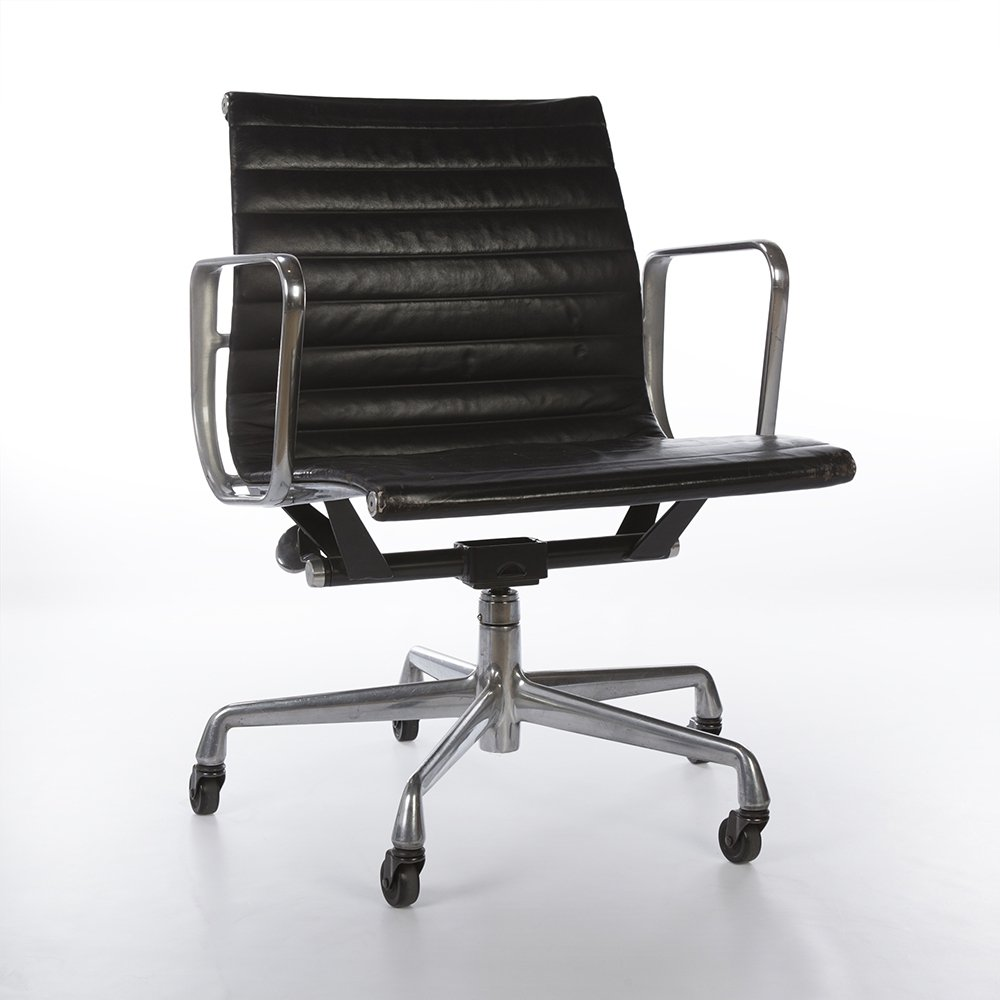Black Herman Miller Original Eames EA335 Low Back Ribbed Office Chair
