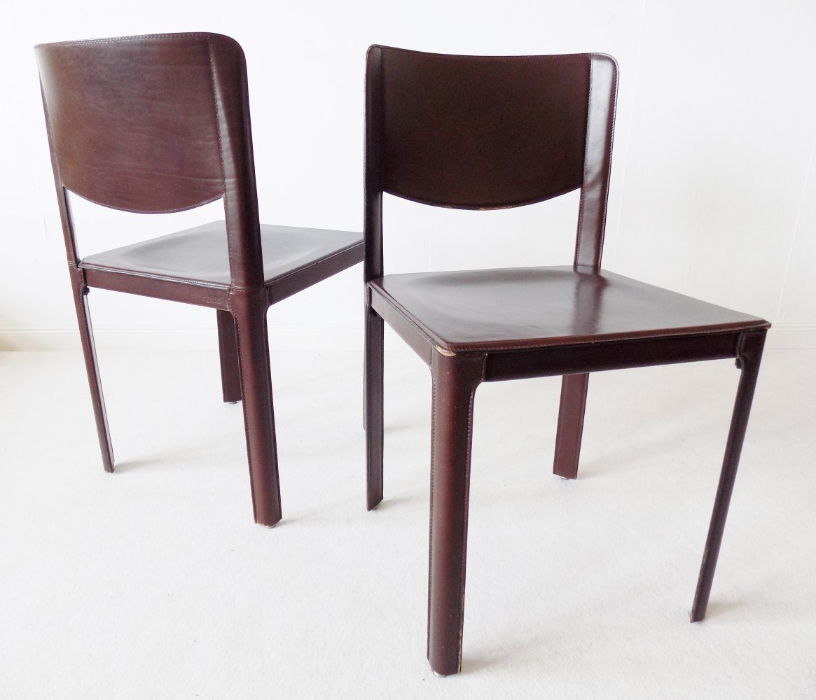 Set of 2 saddle leather Sistina dining chairs by Matteo Grassi, 1980s