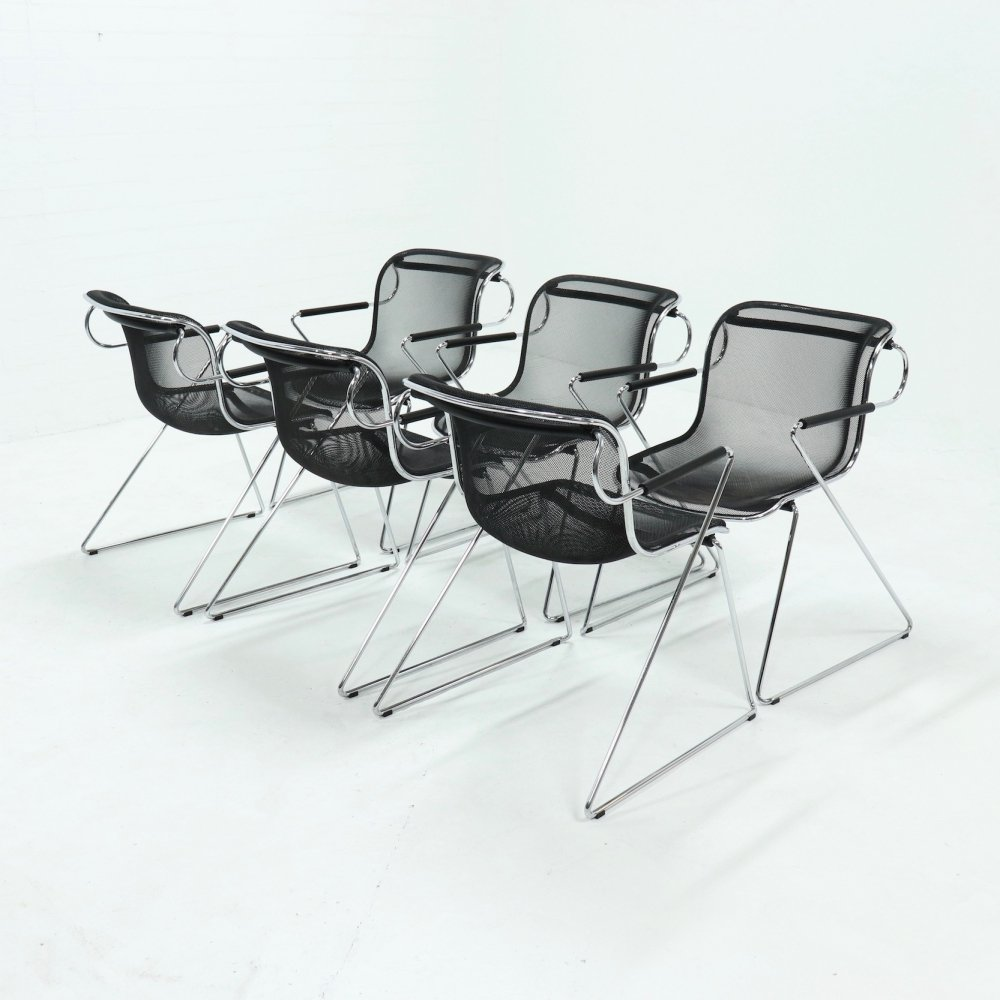 Set of 6 Penelope Dining Chairs by Charles Pollock for Castelli, 1980s