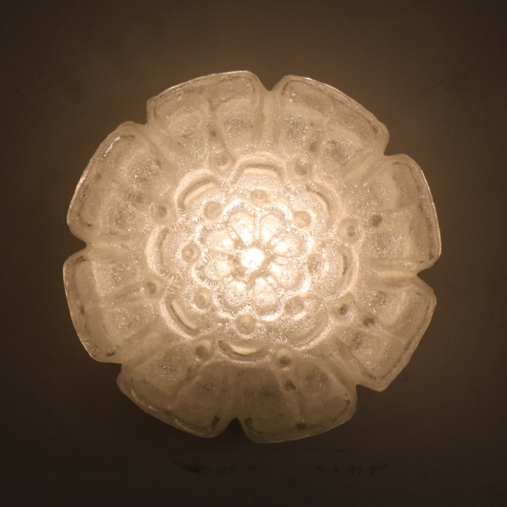 Frosted glass ceiling lamp by Glashütte Limburg, Germany 1960s
