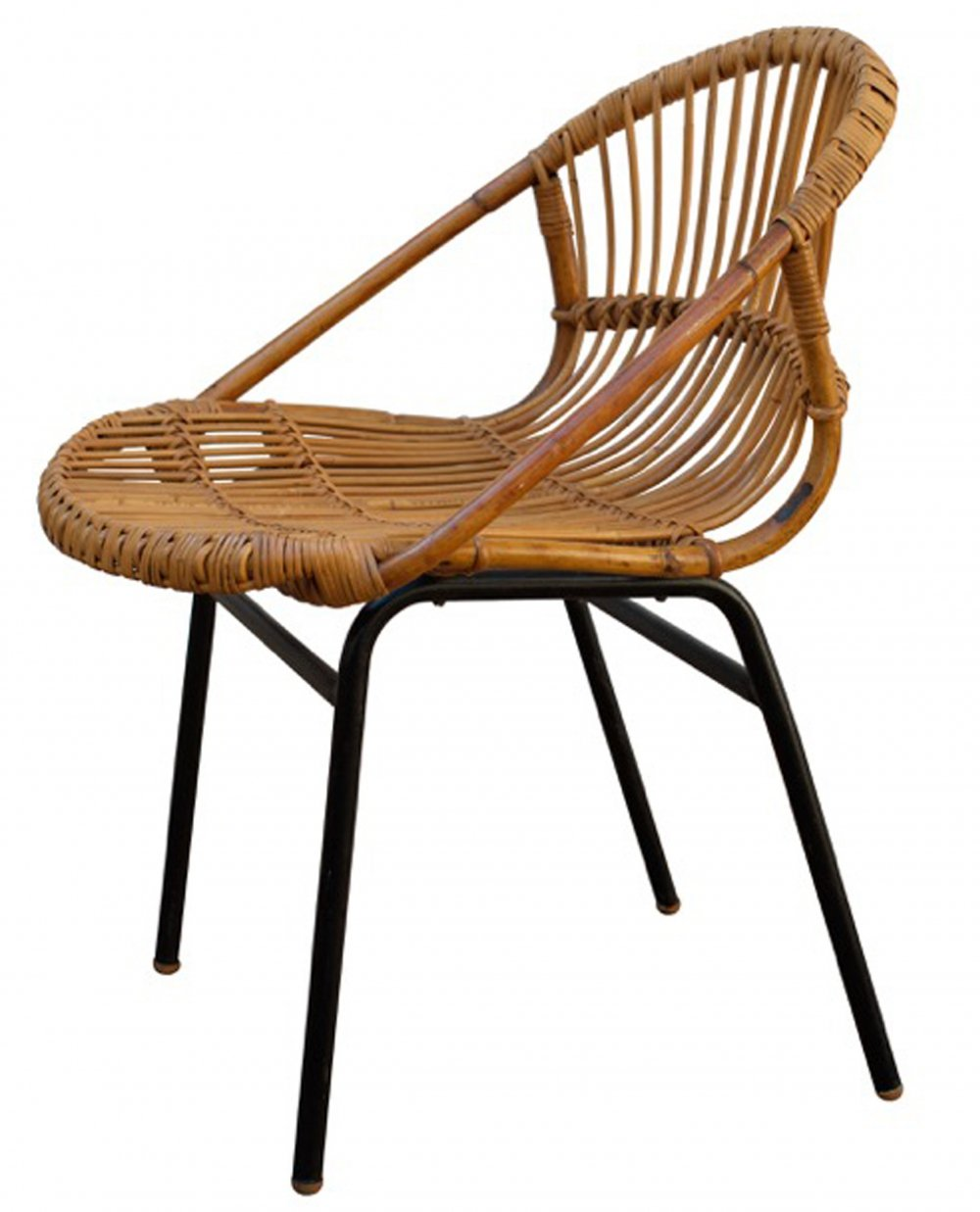Rattan lounge chair by Alan Fuchs for experimental housing project Invalidovna