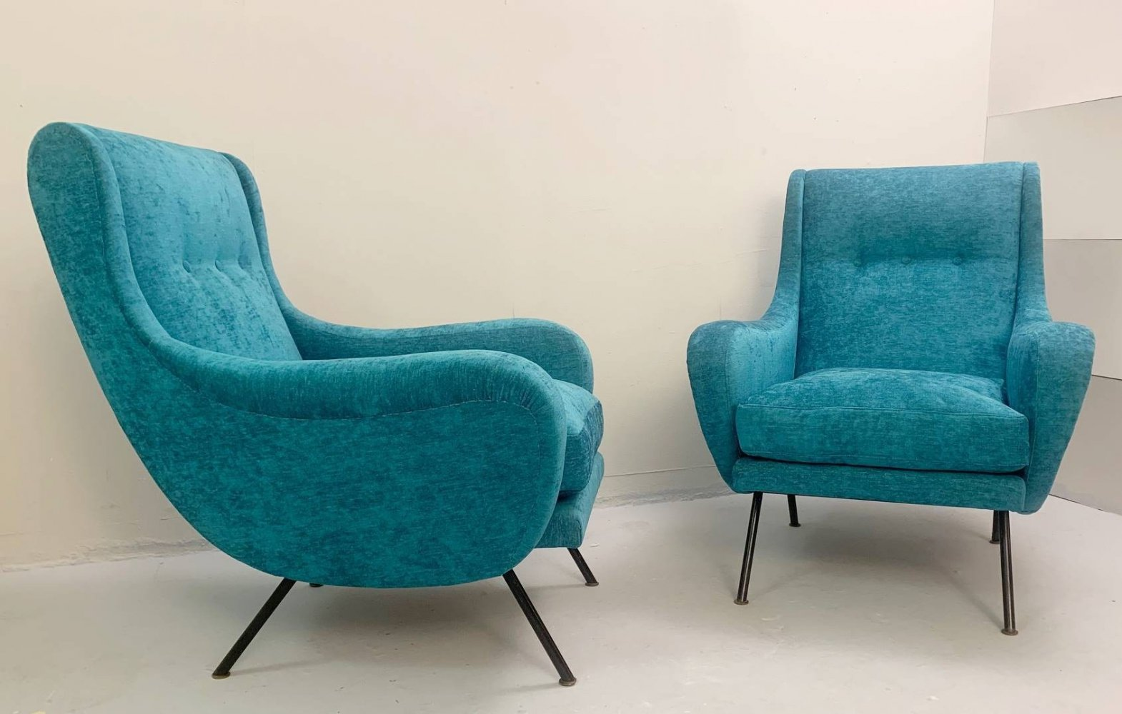 Pair of Turquoise Armchairs with steel frame, Italy 1950s