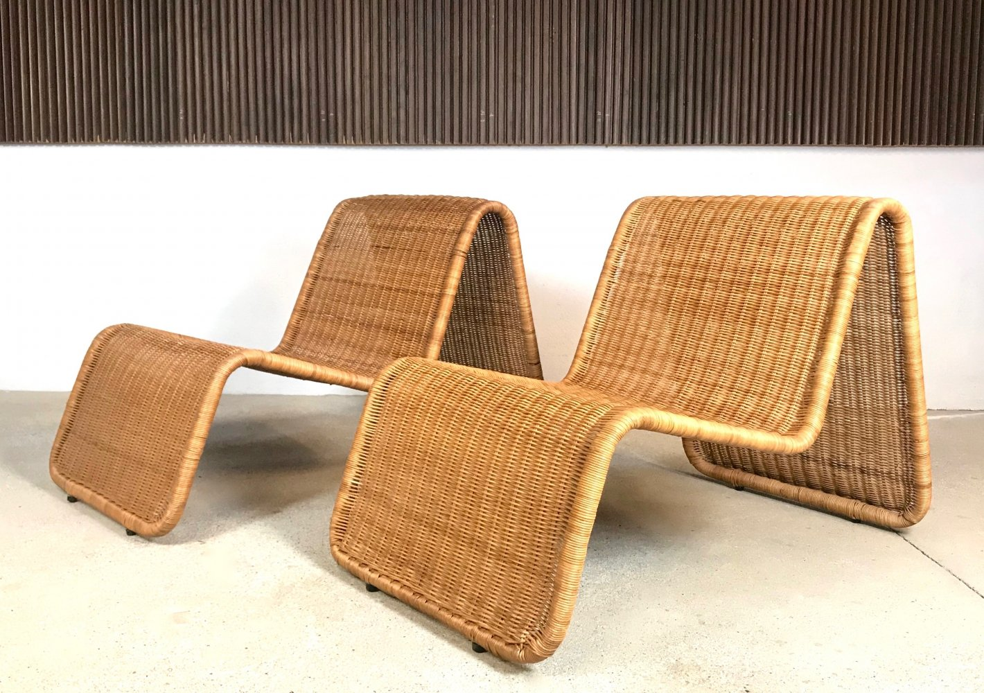 Pair of Vintage Rattan Lounge Chairs by Ikea, 1980s