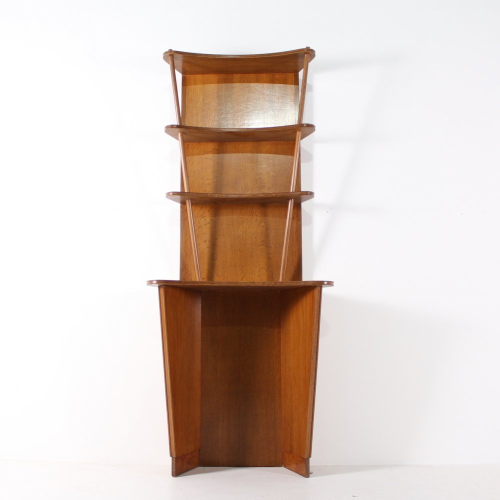 Unique made to measure french free form officine display cabinet, 1950s