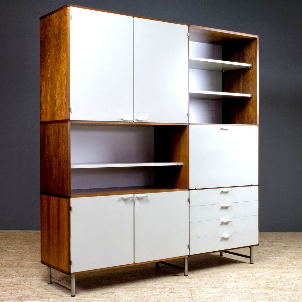 Large Sideboard in Rosewood & White Panels by Cees Braakman for Pastoe