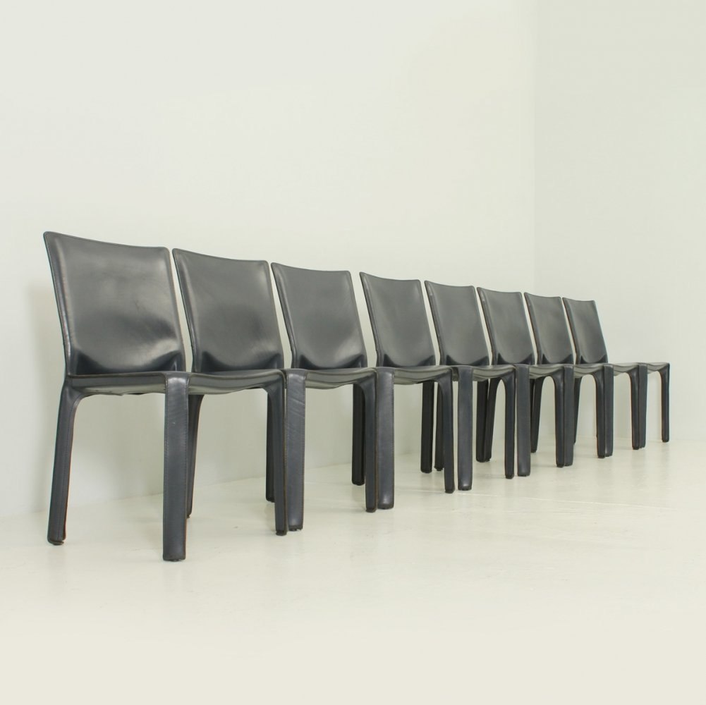 Set of 8 Leather Cab Chairs by Mario Bellini for Cassina