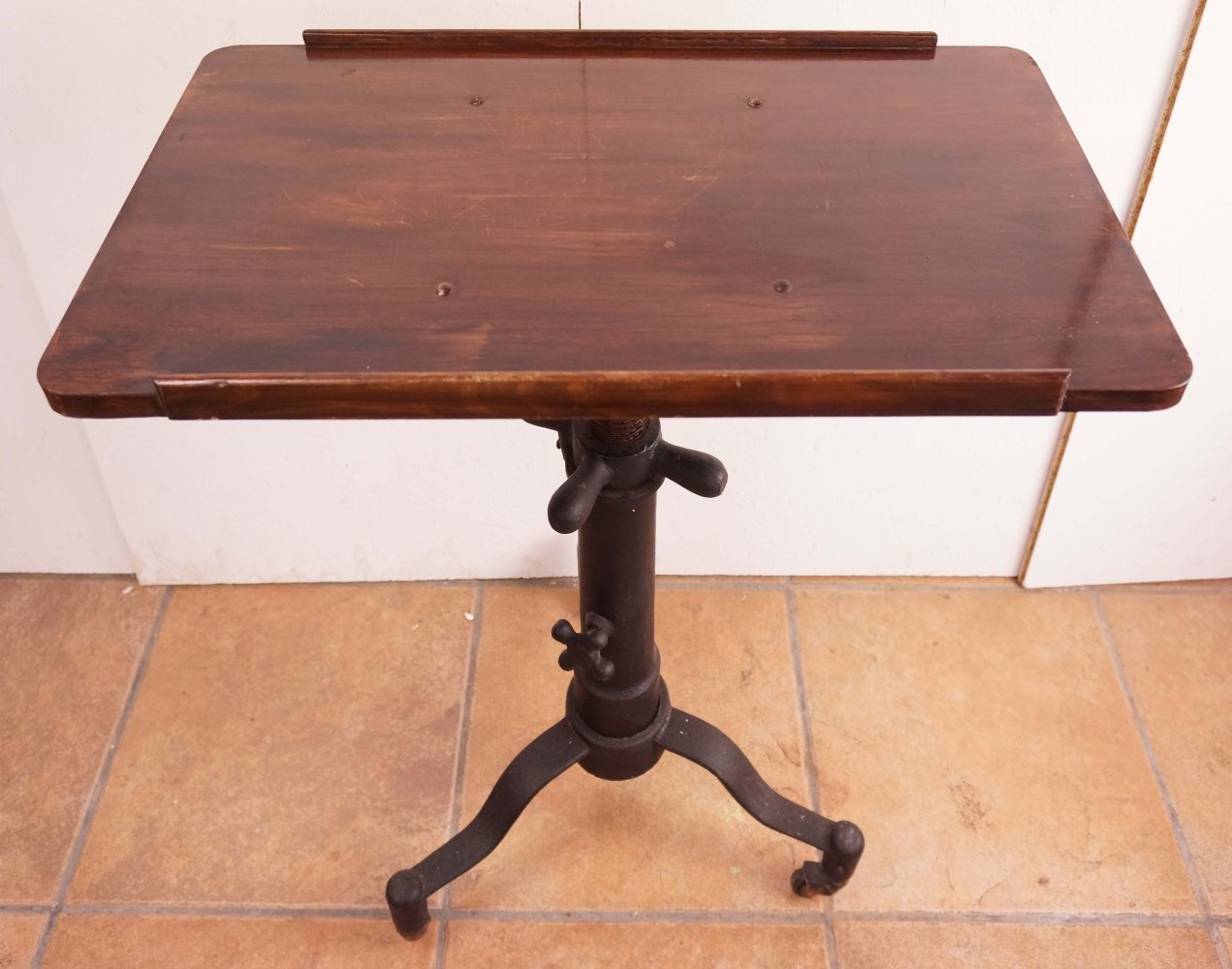 Industrial Cast Iron Adjustable Table, 1920