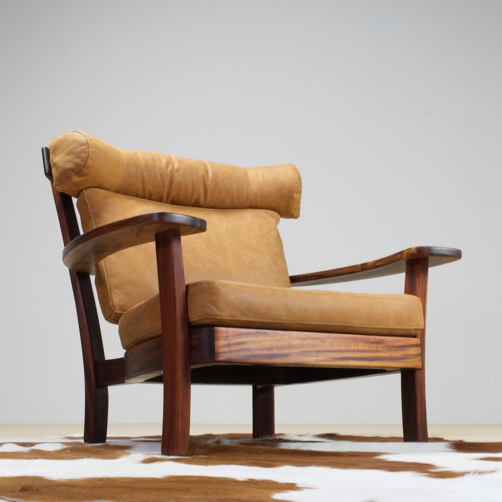 Brutalist rosewood & leather Ox lounge chair, 1960s