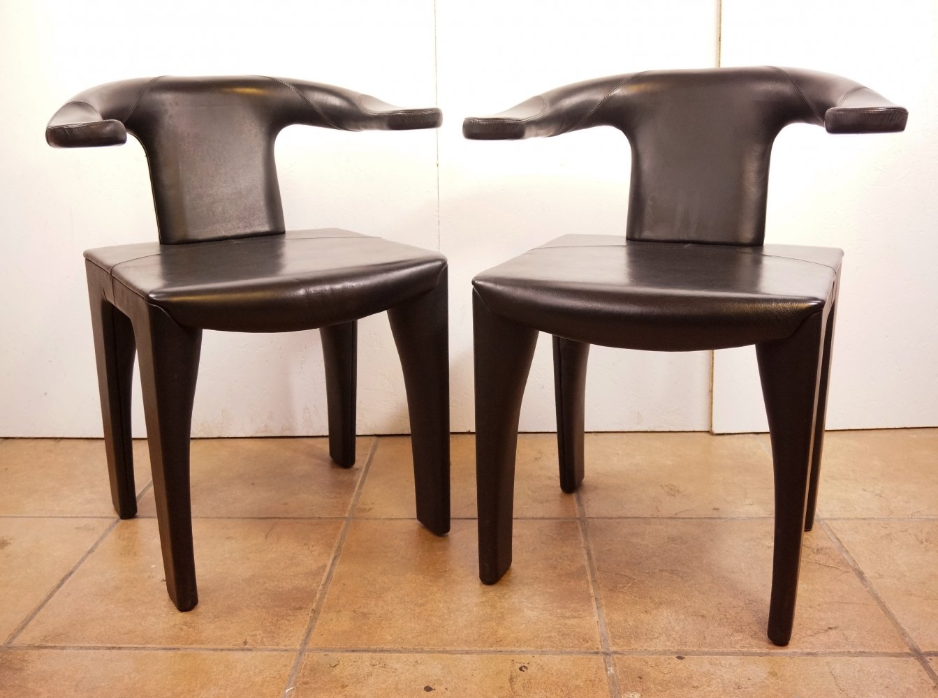 Pair of Catalan Leather armchairs, 1970s