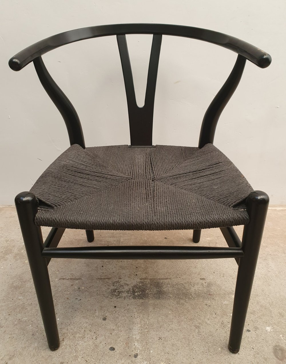 Black Lacquered CH24 Wishbone Dining-Office Chair by Hans Wegner, Denmark 1980s