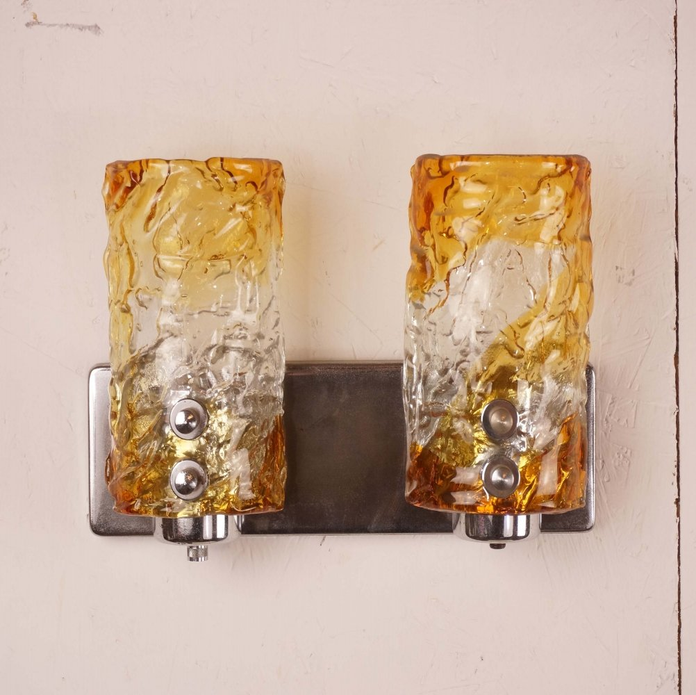 Murano Chrome & Moulded Sunset Colored Glass Two Shade Single Sconce
