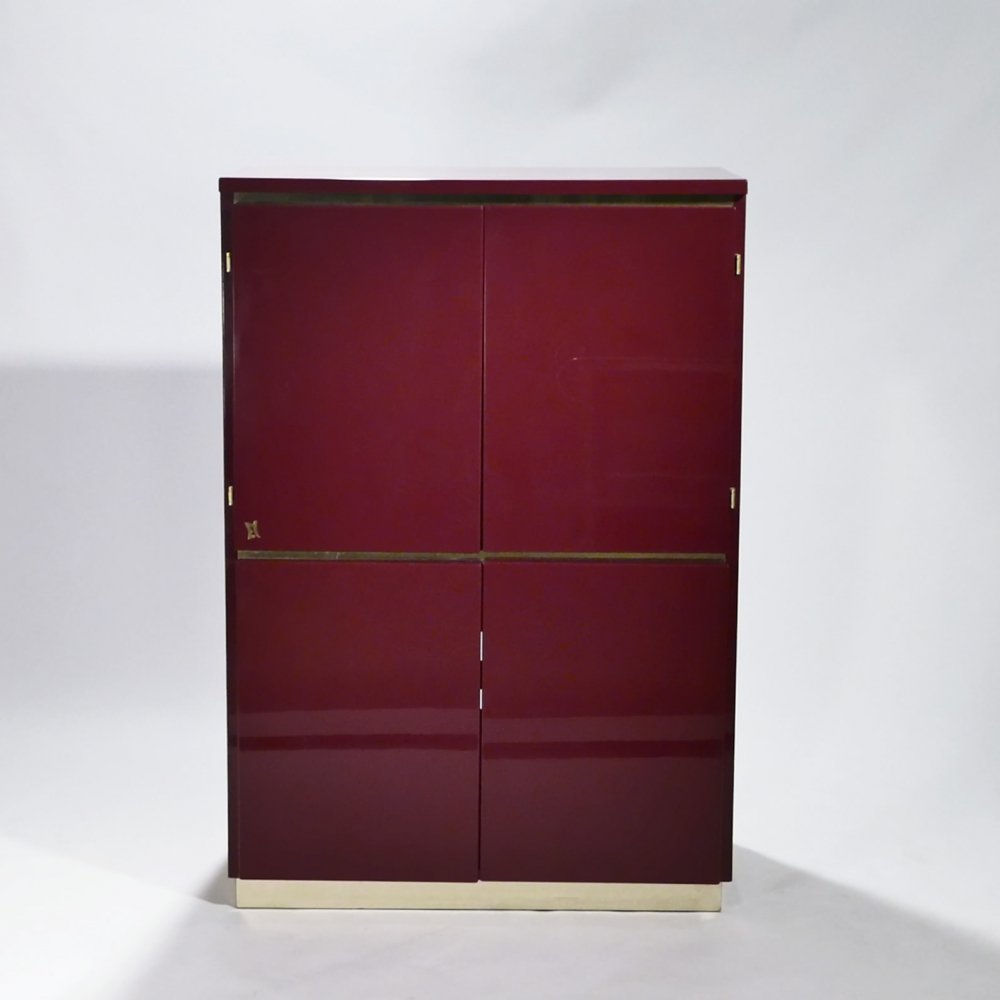 Red lacquer & brass cabinet by J.C. Mahey, 1970s