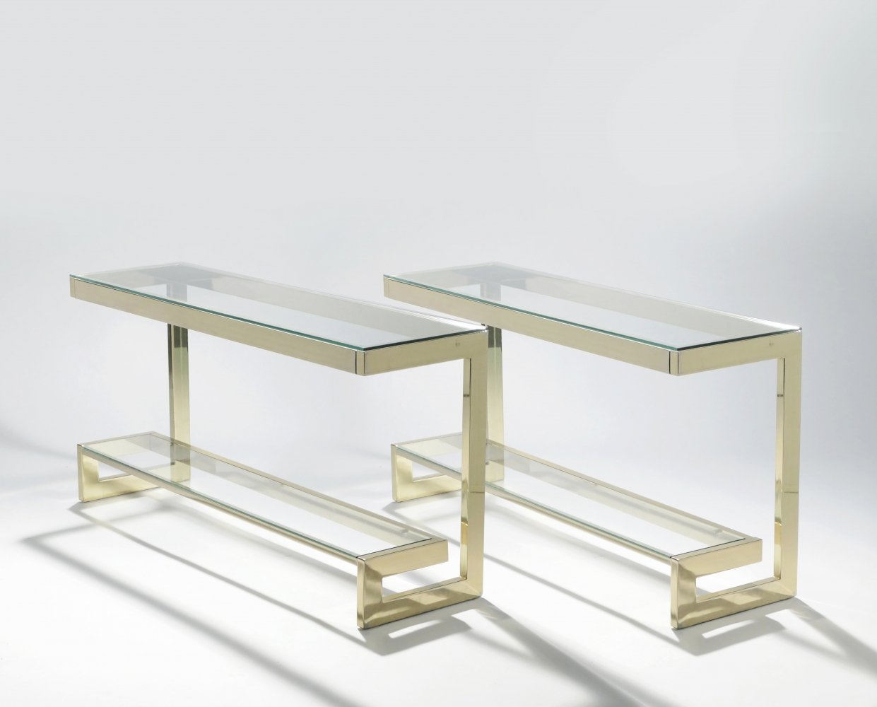 Guy Lefevre pair of large brass console tables for Maison Jansen, 1970s