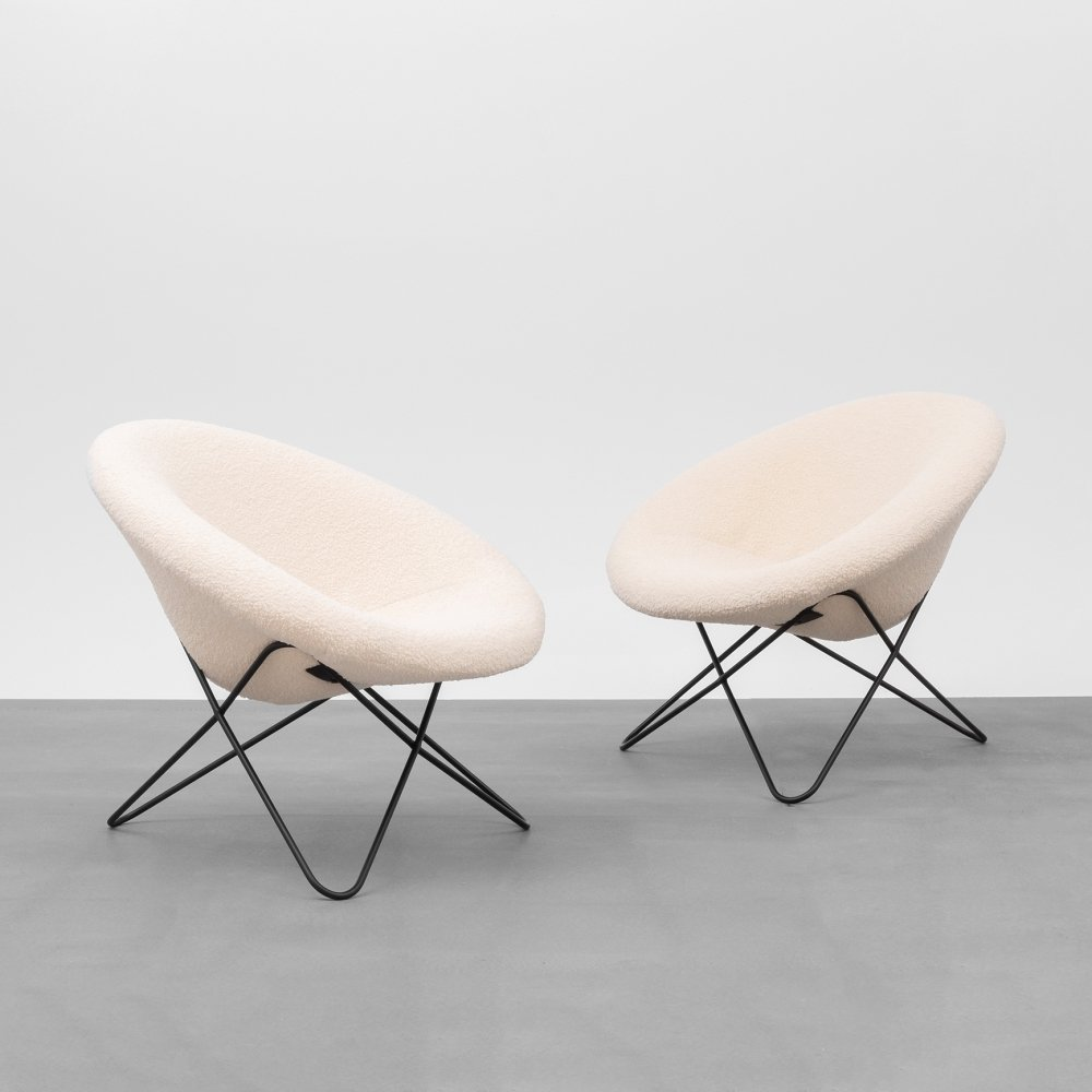 Pair of hairpin chairs, France 1950