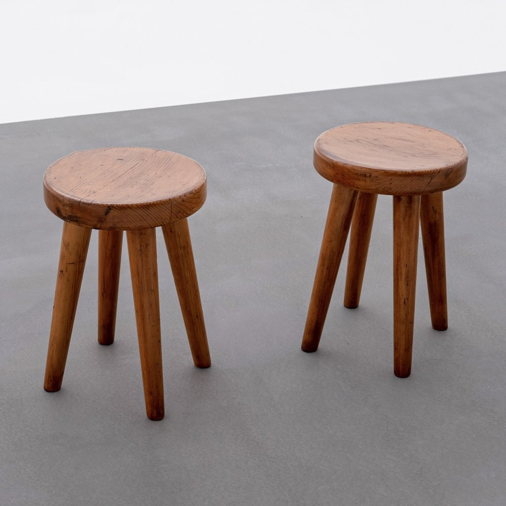 Pair of French Midcentury Modern Stools in Solid Pine