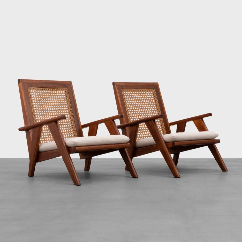 Pair of French Wood & Rattan Armchairs, 1950s