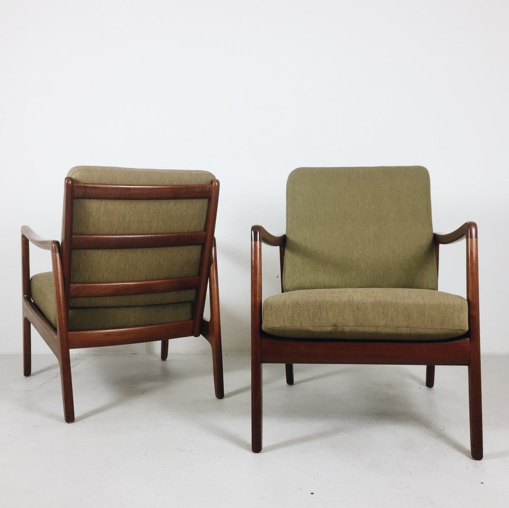 Pair of Ole Wanscher Teak Easy Chairs Model 109, 1950s