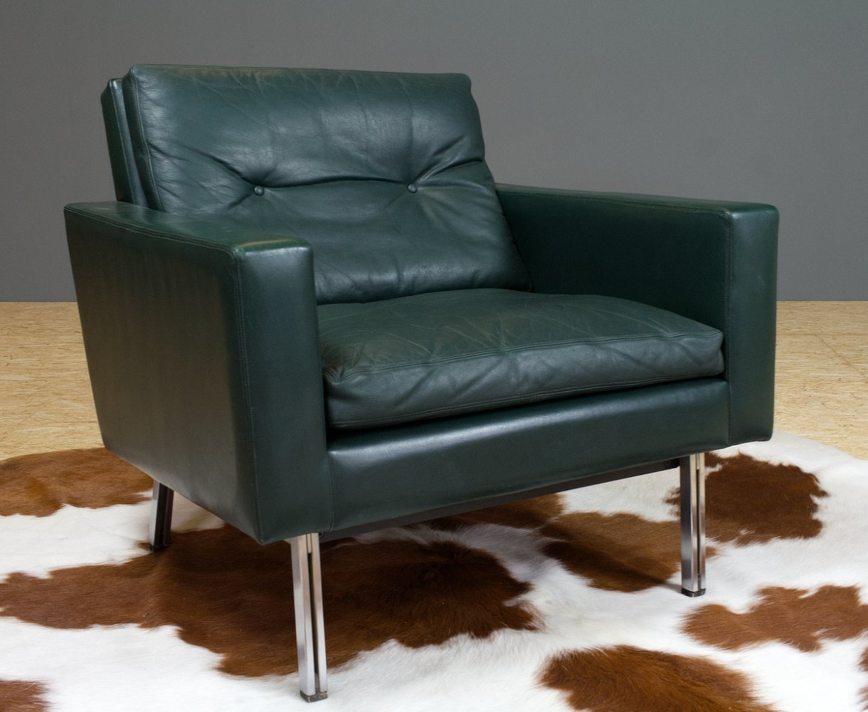 AP Originals green leather Lounge chair by Hein Salomonsson, late 60s