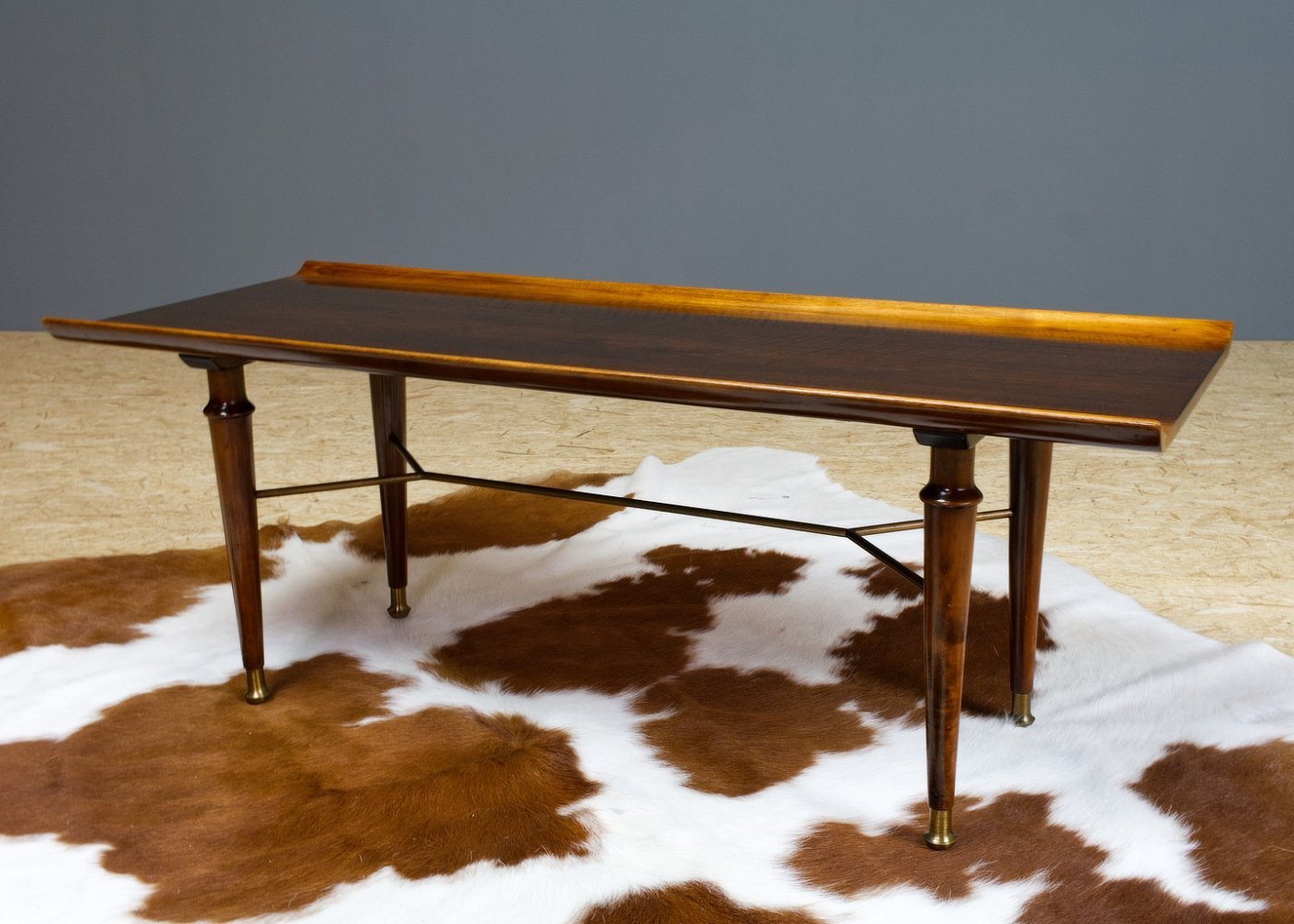 Mahogany & Brass Art Deco coffee table by A.Patijn, 1950s