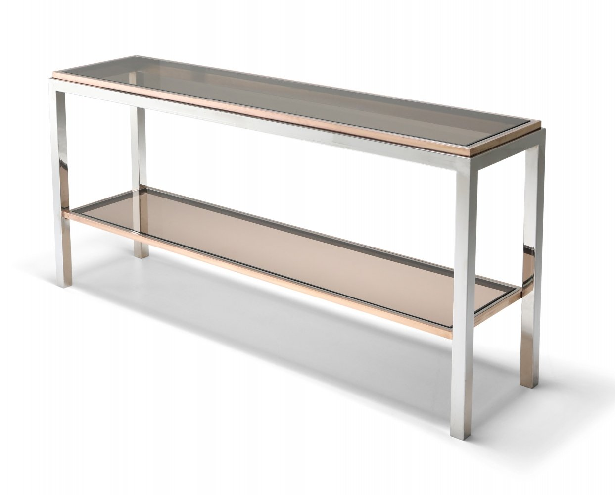 Willy Rizzo Two-Tier Console Table in Chrome & Brass Linea Flaminia