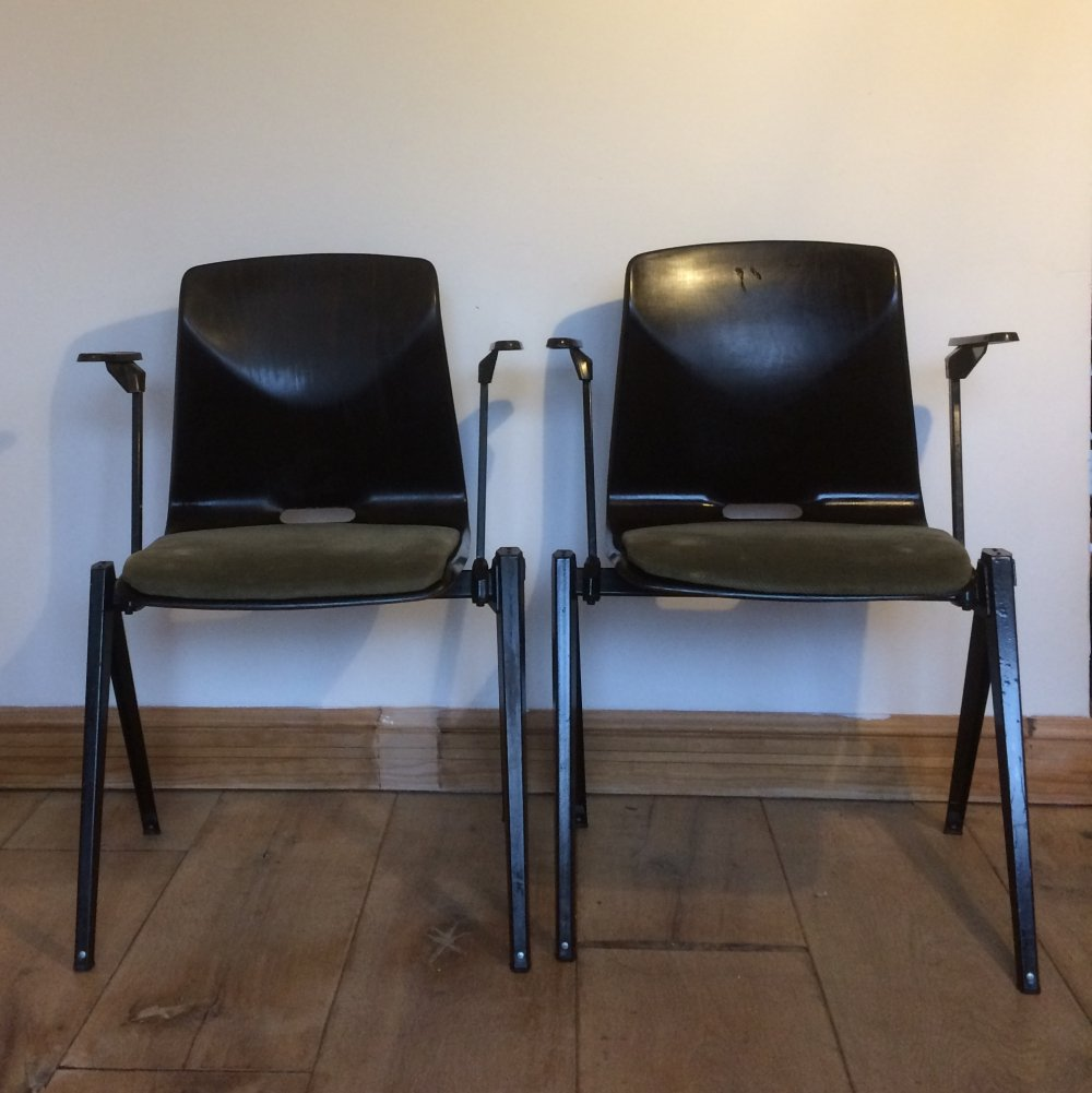 Set of 2 Unique Galvanitas S22 Thur Op Seat With Armrest And Upholstered Seat, 1960s