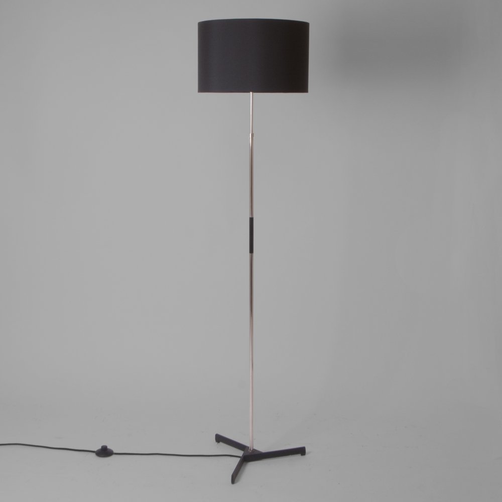 Floor lamp with black shade, England 1950s