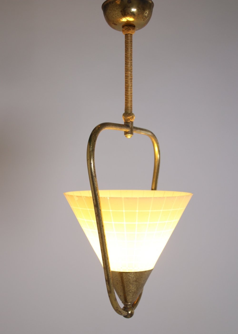 Hanging lamp with glass shade, 1960s