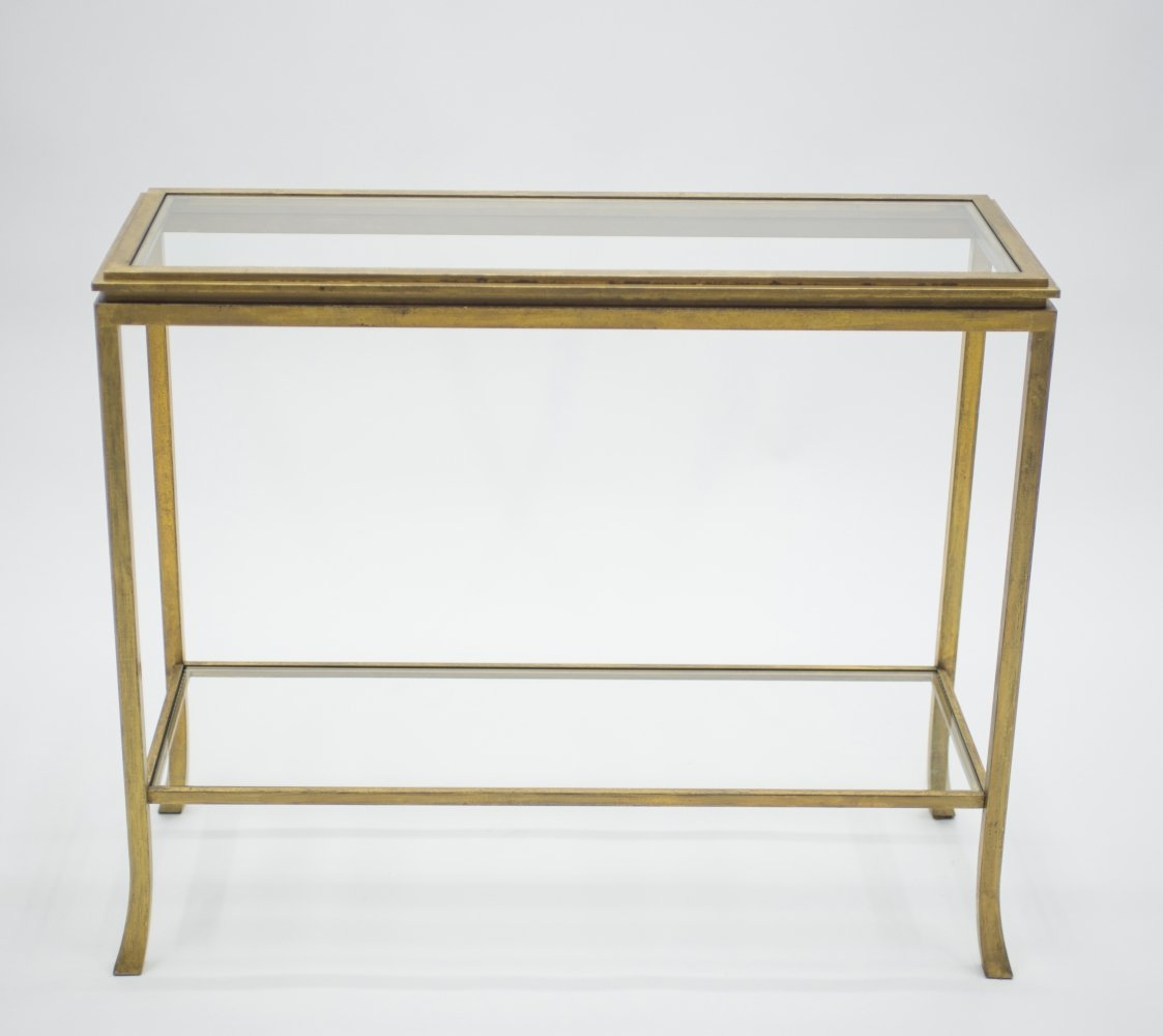 Rare Mid-century Roger Thibier gilt wrought iron gold leaf console table, 1960s