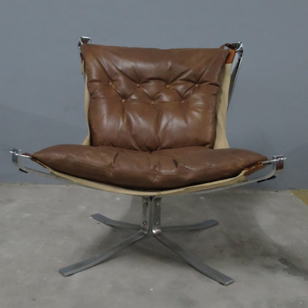 Sigurd Ressell brown leather Falcon chair for Vatne Møbler, 1970s