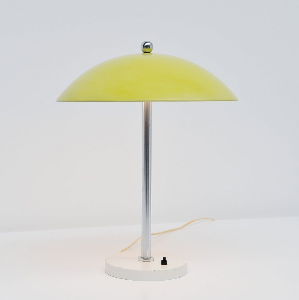 W.H. Gispen yellow mushroom table lamp for Gispen, 1950