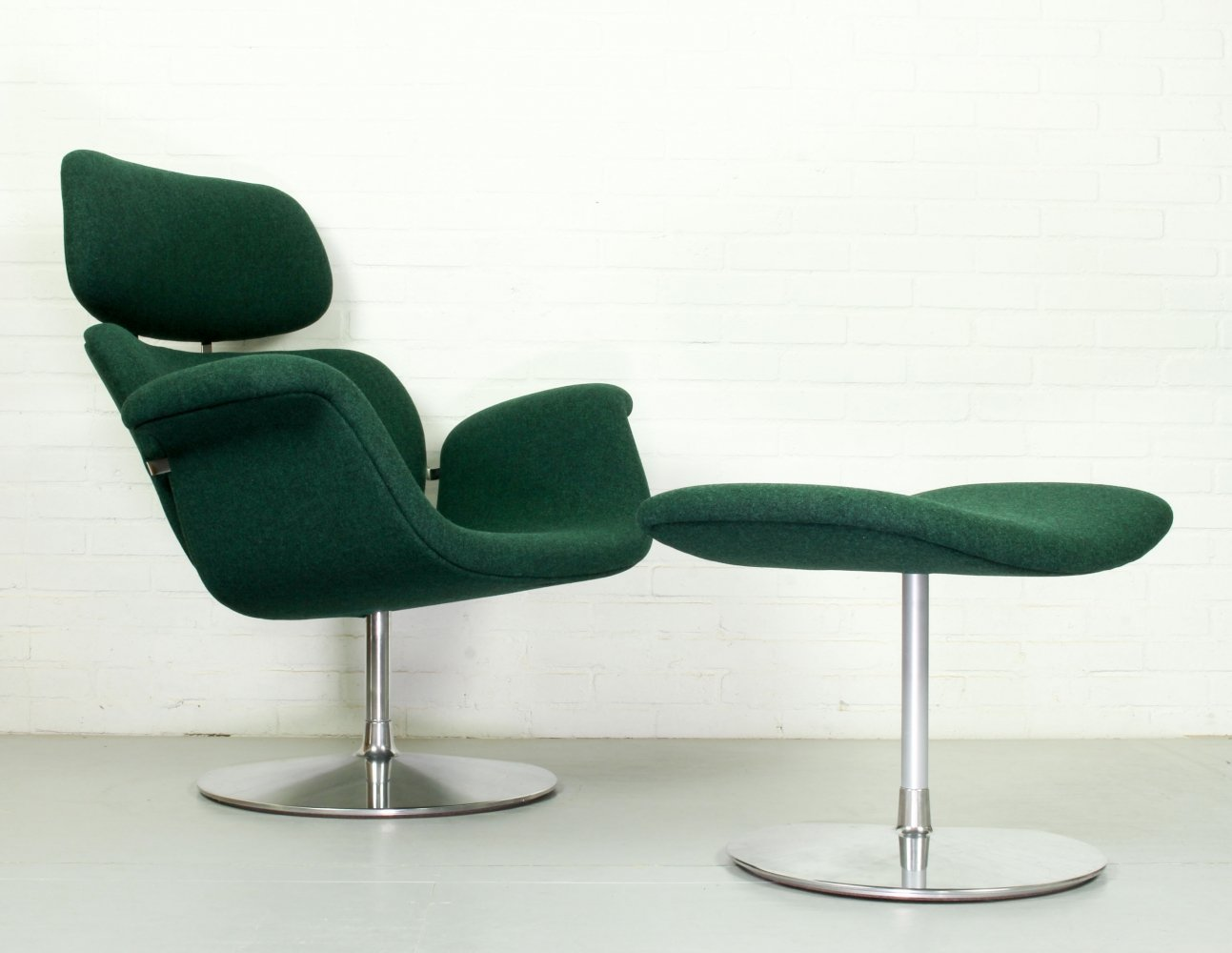 Vintage Pierre Paulin for Artifort Lounge Chair Big Tulip (F545) with ottoman (P545), 1970s