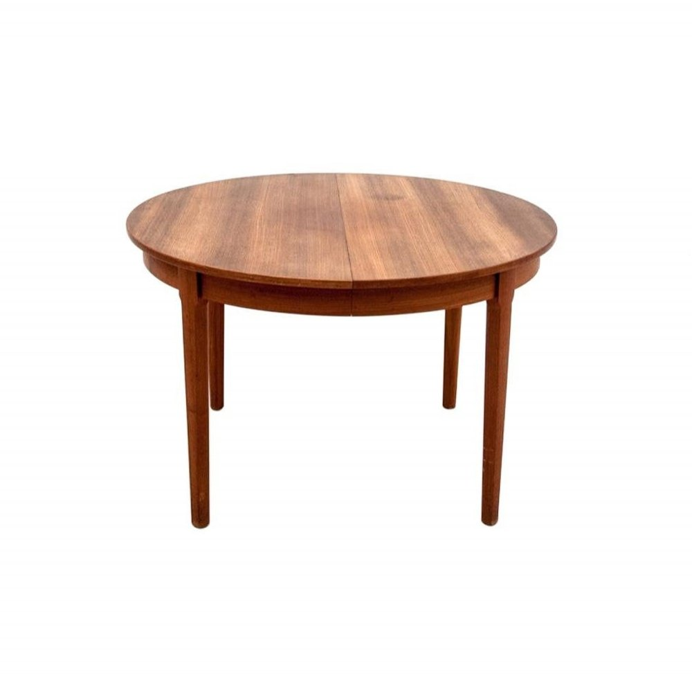 - Round Teak Folding Dining Table, 1960s #129047
