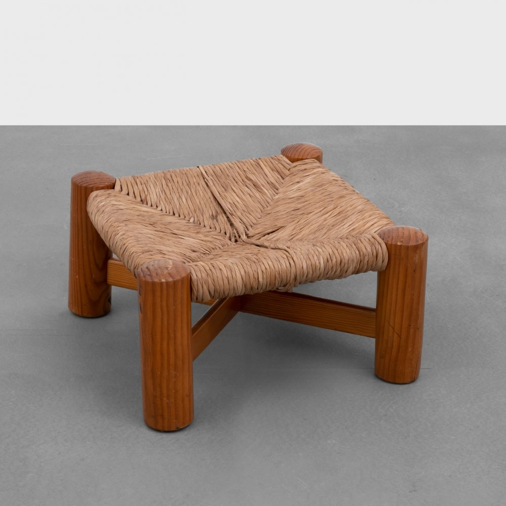 Pine & Rush footstool by Wim den Boon