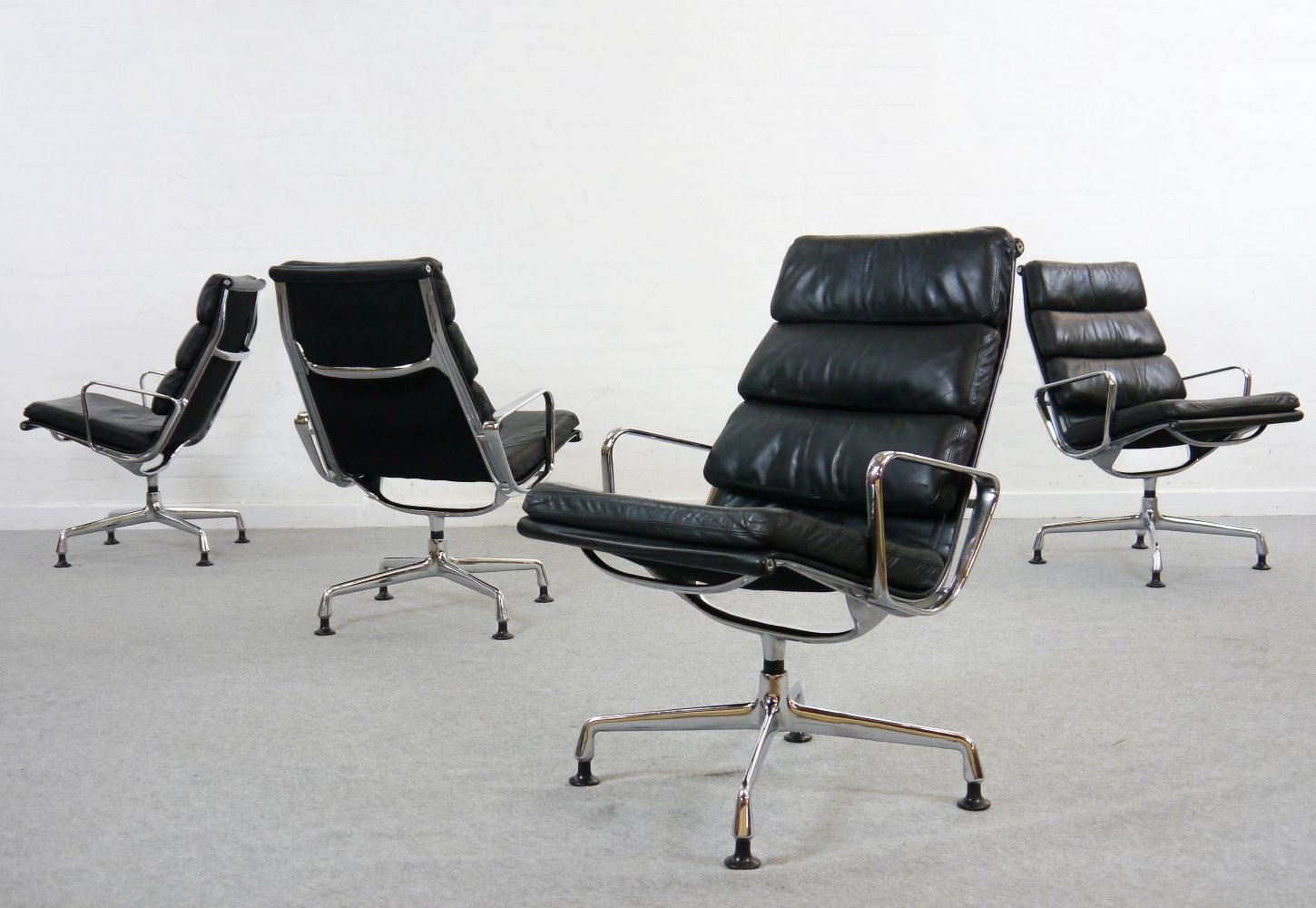 Charles Eames Soft Pad Chairs EA 216 by Herman Miller/Fehlbaum in Black Leather