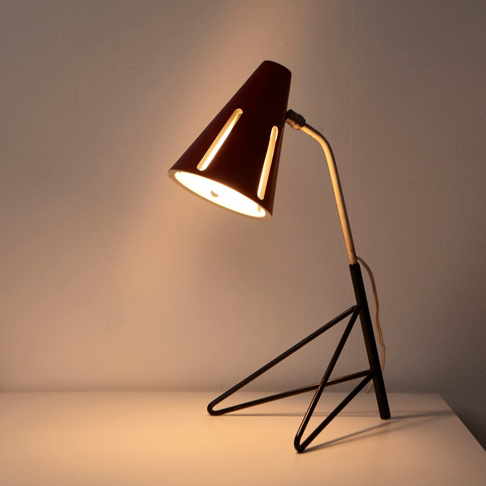 Rare Sun Series Table Lamp by H. Busquet for Hala, 1955
