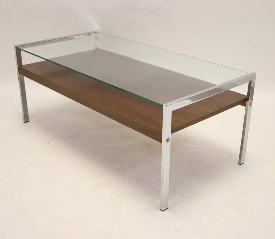 Italian design Coffee table with Rosewood & Chrome legs