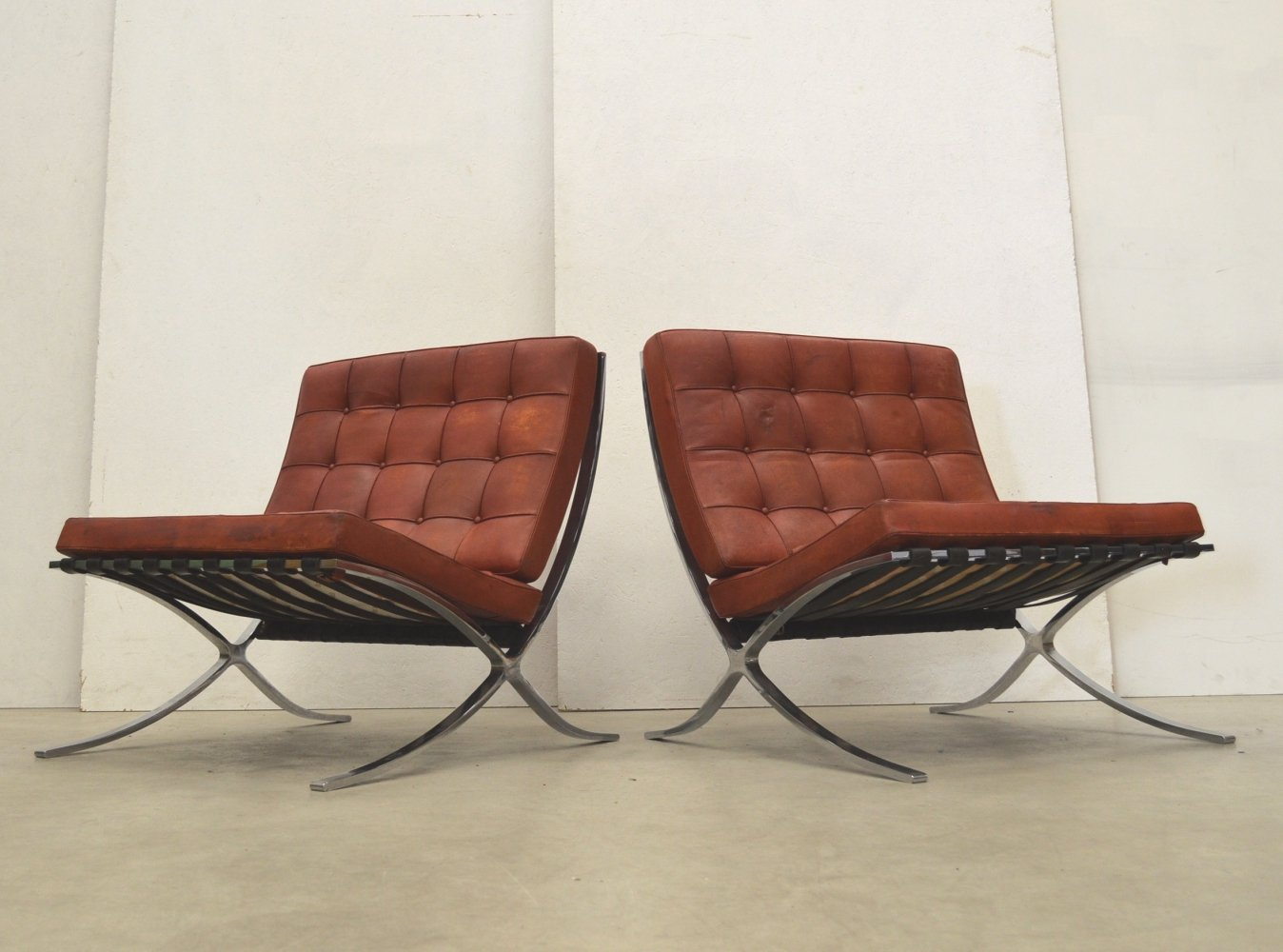 Early Vintage Barcelona Chairs by Mies van der Rohe for Knoll, 1950s