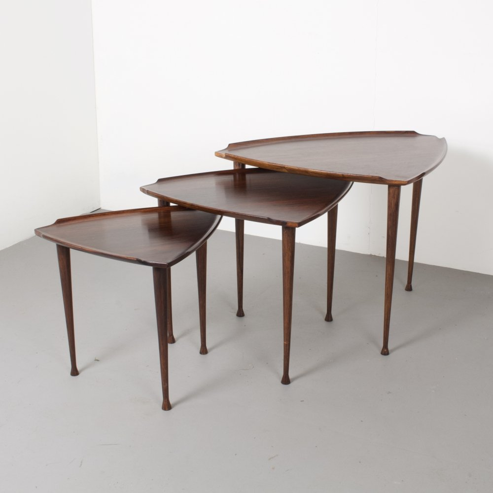 Danish Rosewood Nest of Three Tables by Poul Jensen for Selig, 1960s