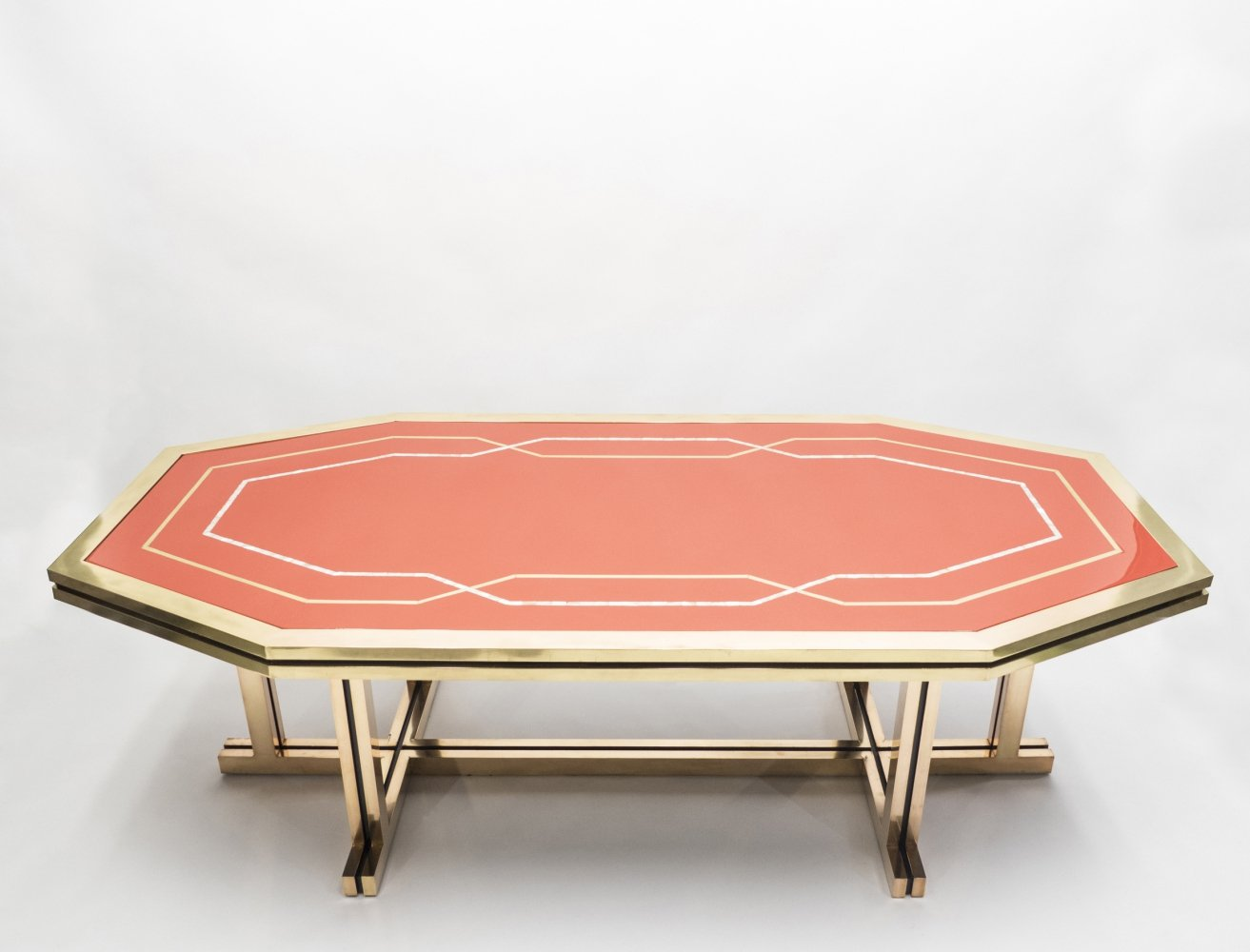 Unique red lacquer & brass Maison Jansen dining table, 1970s