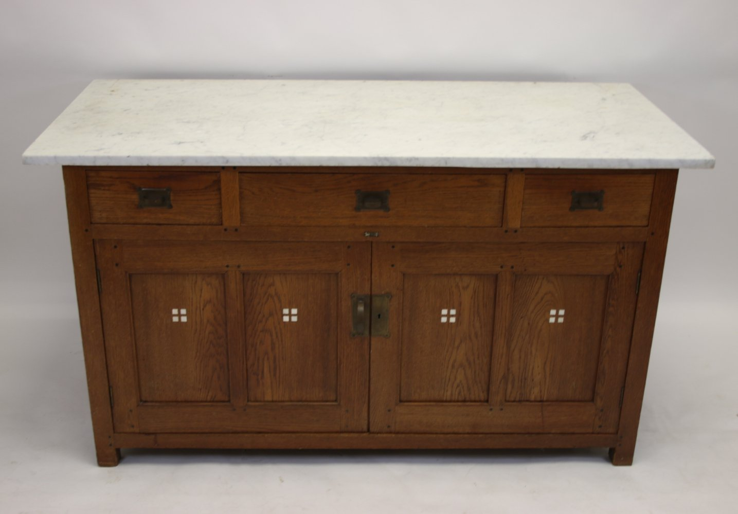 Art Deco sideboard with white marble top, 1920s