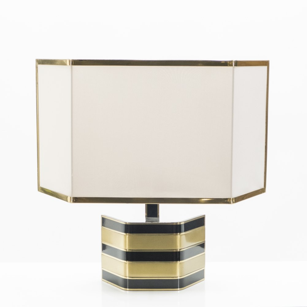 Large Italian Romeo Rega brass & black table lamp, 1970s