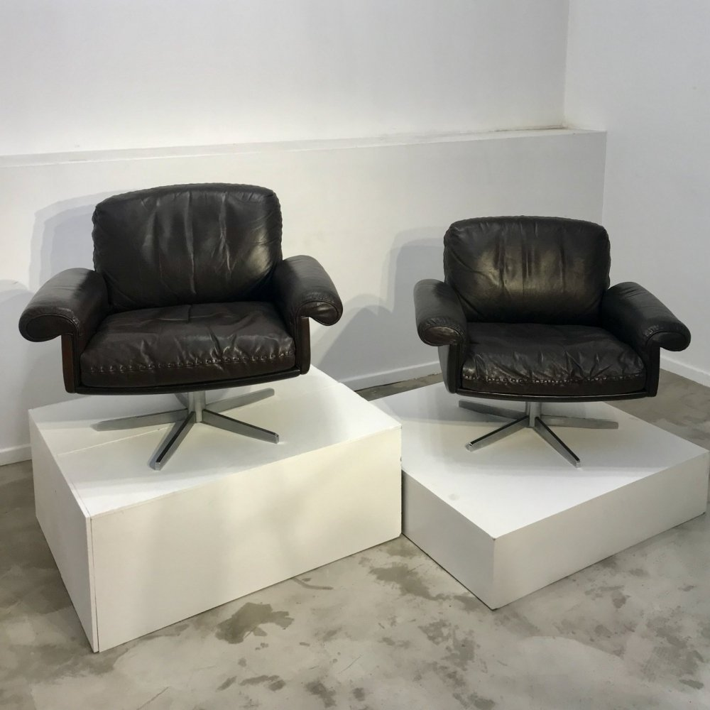 Pair of De Sede DS 32 easy chairs, 1970s