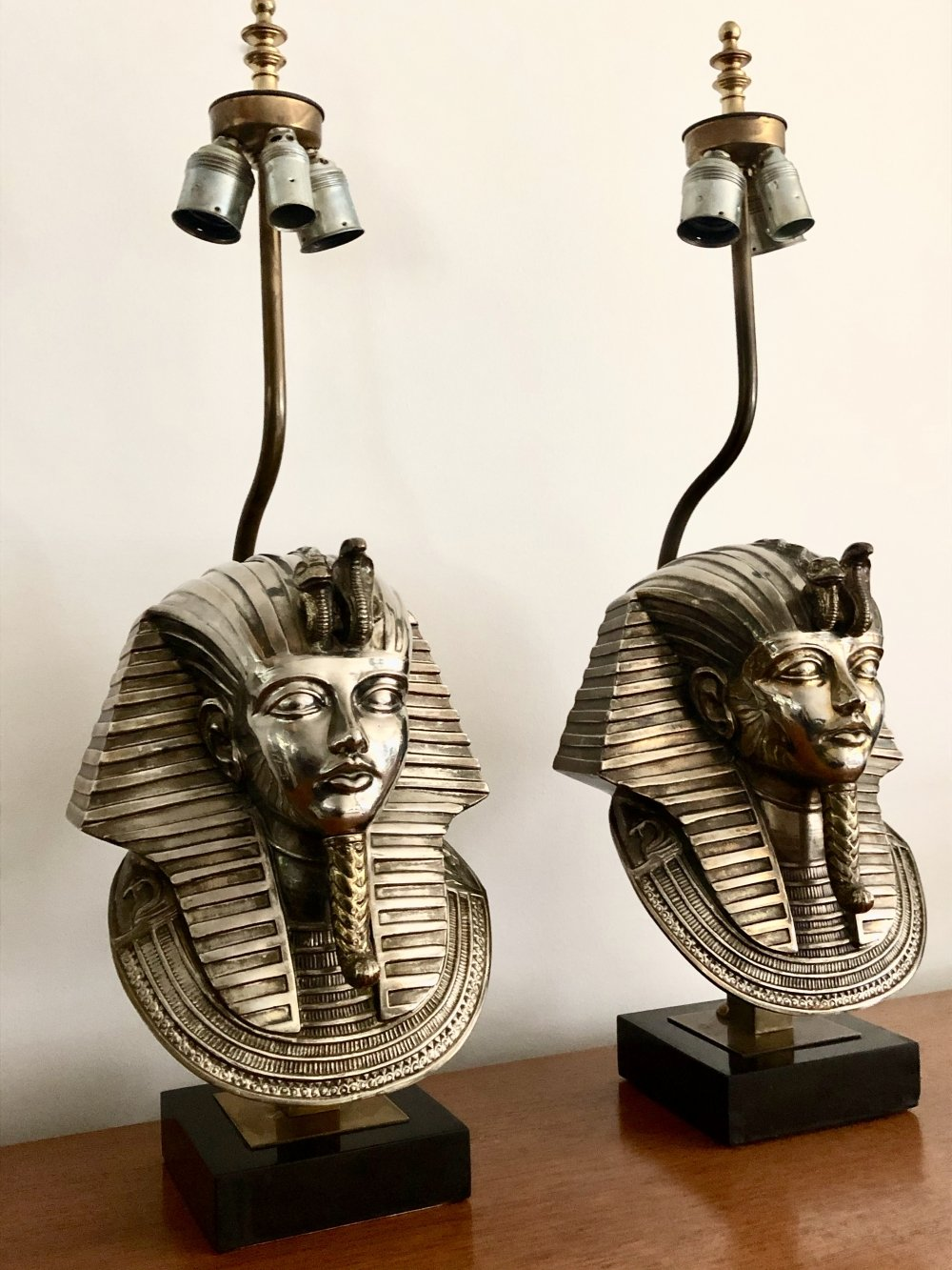 Set of 24K goldplated Pharaoh table lamps by Deknudt, 1970