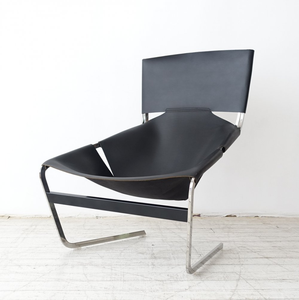 Saddle black leather F444 lounge chair by Pierre Paulin for Artifort