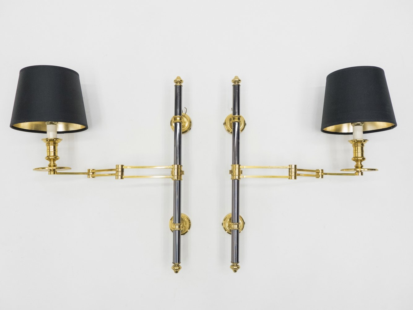 Pair of Maison Jansen metal brass Retractable wing Sconces, 1960s