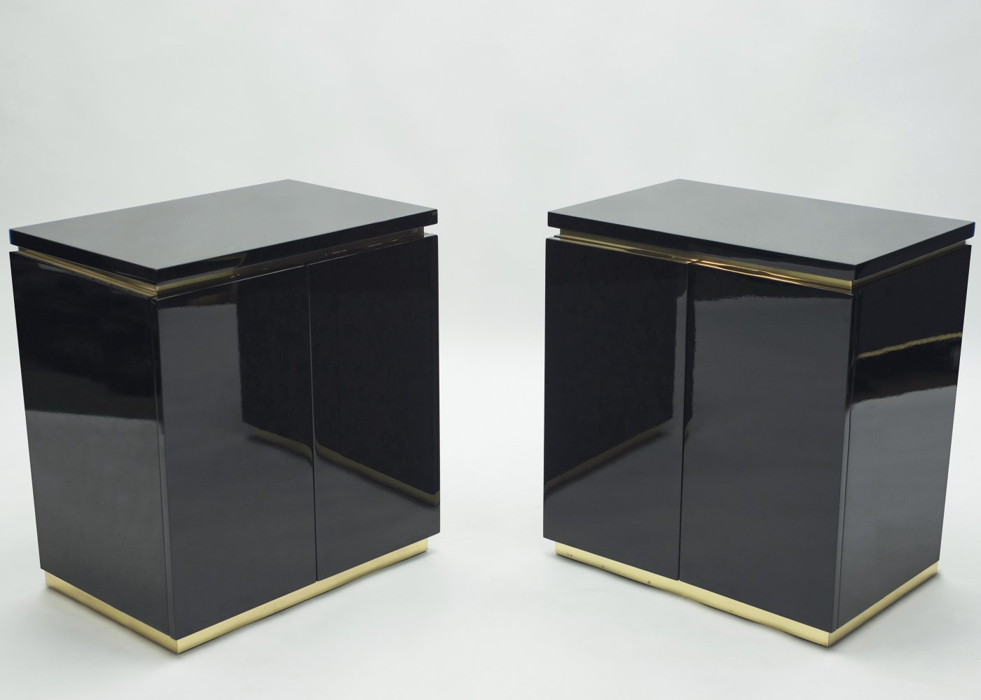 Pair of small black lacquer cabinets night stands by J.C. Mahey, 1970s