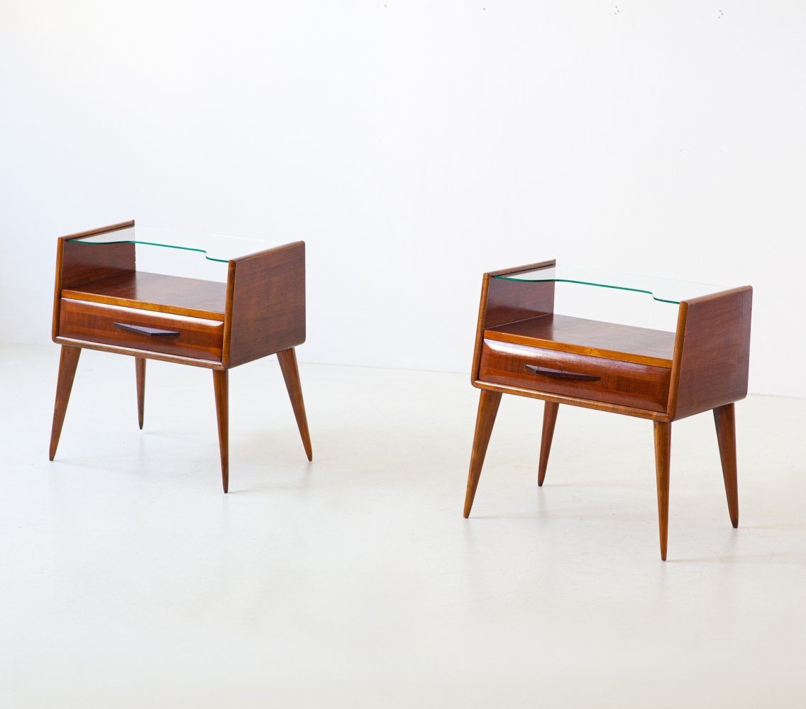Pair of Italian Wooden Bedside Tables with Glass Top, 1950s