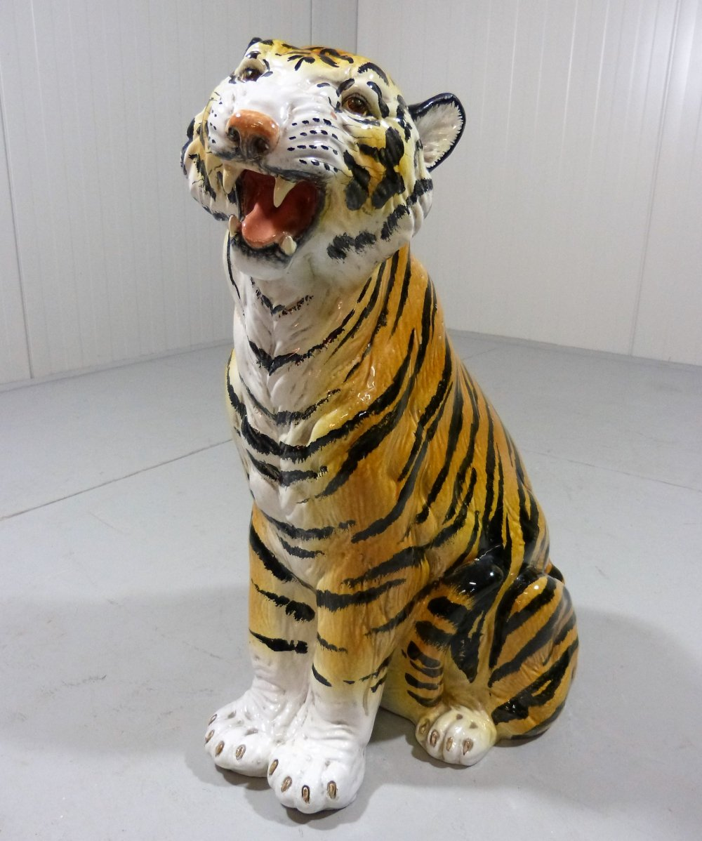 Large terracotta tiger statue, Italy 1960